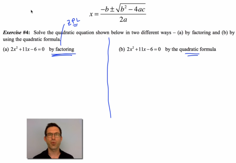 A man's face is visible picture-in-picture below a quadratic formula problem.